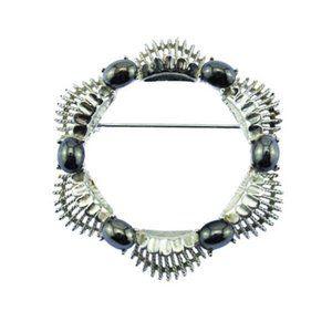 Coro Hematite and Silver Circle Brooch